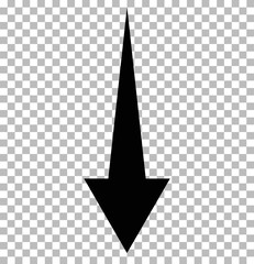 black down arrow on tramsparent. down arrow.  black down arrow sign.