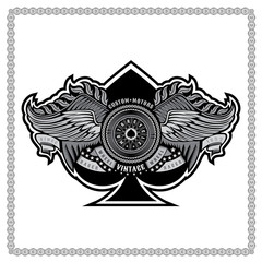 Ace of spades from motorbike wheel in center of chain between two pair of wings. Vintage motorcycle design on white