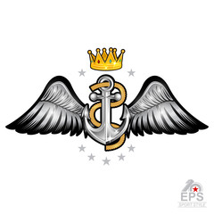 Anchor with rope with gold crown between wings on white. Sport logo for any yachting or sailing team or championship