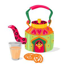 Beautiful indian kettle and masala chai tea. Traditional sweets jalebi. Vector illustration