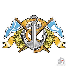 Anchor between wreath and crossed flags on white. Sport logo for any yachting or sailing team or championship