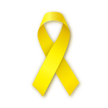 Yellow awareness ribbon. Bone cancer and troops support symbol.