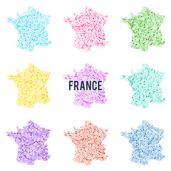 Vector dotted colourful map of France.