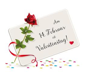 Februar Ist Valentinstagu201c Karte Mit Herzchen, Karte Mit Rose Und