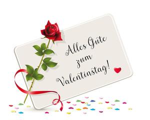 Alles Gute Zum Valentinstag Karte Mit Herzchen, Karte Mit Rose Und  Valentinstags Grüße Vektor Illustration