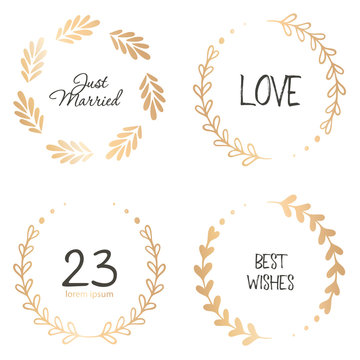 Hand drawn gold wedding elements set. Floral circle doodles, branches, wreath and frame with text. Good for Save the Date cards, Wedding invitations and other cards.