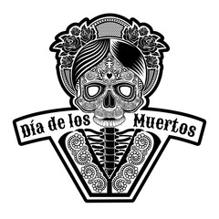 Female skull with rose wreath on head and pattern on face. Symbol of Dia de Muertos holiday. Monochrome illustration isolated on white