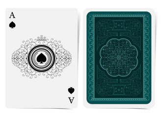 Ace of spades face and back side with blue suit and light curle pattern. Vector card template