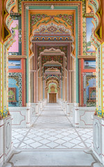 colorful corridor with Indian Murials, Jaipur