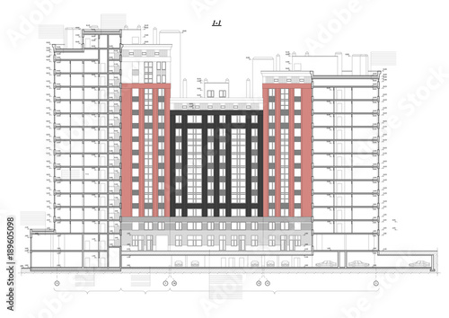 Detailed architectural plan of multistory building with underground detailed architectural plan of multistory building with underground garage parking cross section view malvernweather Image collections