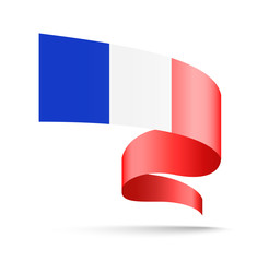 France flag in the form of wave ribbon. Vector illustration on white background.