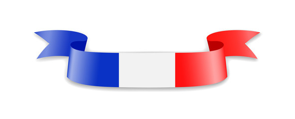France flag in the form of wave ribbon. Vector illustration.