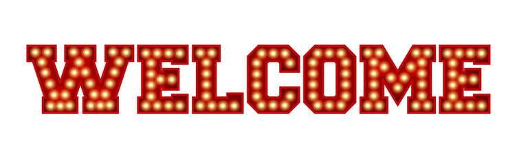 Welcome word made from red vintage lightbulb lettering isolated on a white. 3D Rendering