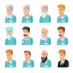 Set of flat icon of doctors different age and speciality on white