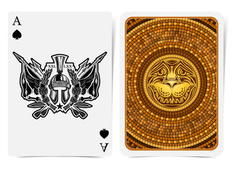 Ace of spades face with warrior helmet inside wreath, between vintage weapons and back with golden tile round pattern with lion face suit. Vector card template