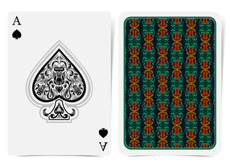 Ace of spades face with narcissus flowers pattern inside spades and back with orange greeb floral pattern on dark suit. Vector card template