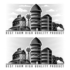Farm granary and barn with wind mill and sky retro style vintage label