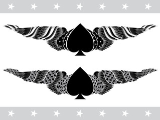Two ace of spades elements with spades between wings with race and american flag isolated on dark background