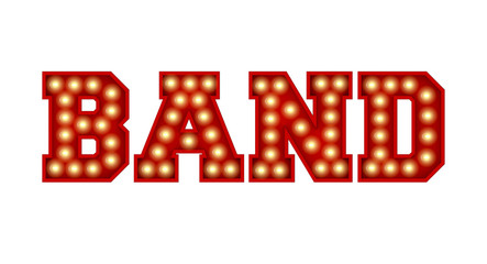 Band word made from red vintage lightbulb lettering isolated on a white. 3D Rendering