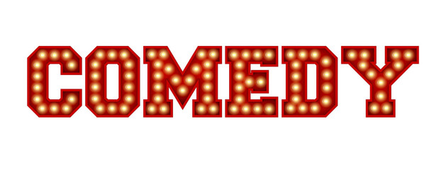 Comedy word made from red vintage lightbulb lettering isolated on a white. 3D Rendering