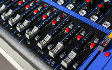 Channel Mixing Console. Control audio panel. Audio and Video Production, broadcast, buttons