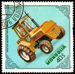 Ukraine - circa 2018: A postage stamp printed in Mongolia show Tractor Bonser, Gt. Britain. Series: Tractors. Circa 1982