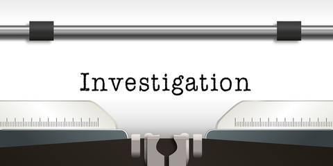 Investigation - enquête - infos - information - message - concept - détective - machine à écrire