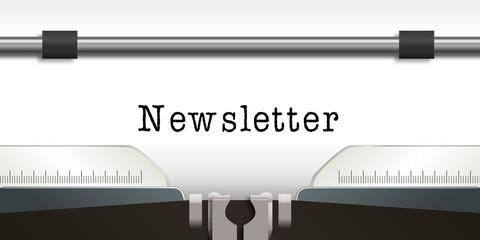 Newsletter - infos - information - message - news - publicité - blog - concept - e-business - machine à écrire