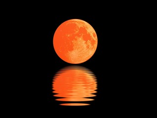 Blood moon with reflection at night