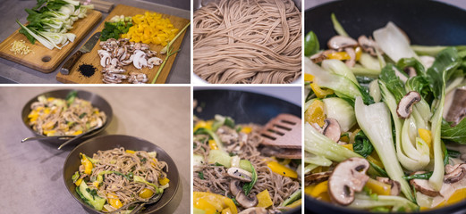 Collage Asiatisches Menü zubereiten