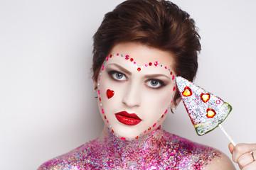woman face art candy