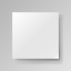Realistic empty square white piece of paper on gray background, light sheet, object for your creative project, mock-up sample, vector design object