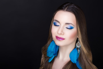 Woman blue make up