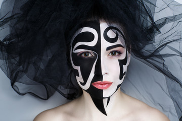 woman black make up