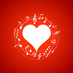 Heart shaped frame with music notes on red background. Music elements for card, poster, party invitation. Music background design vector illustration