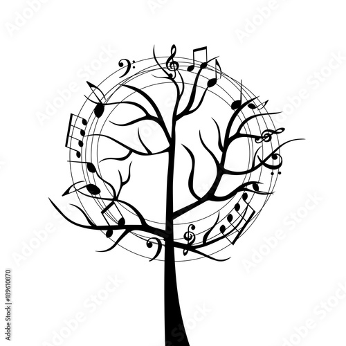 Black And White Music Tree With Music Notes Music Symbols For Card