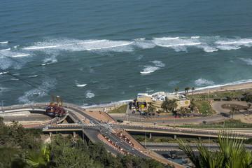 Funicular on Carmel Mountain to Haifa bay, Israel