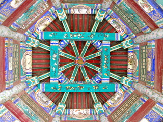 Detail red and blue Chinese architecture in temple