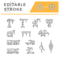Set line icons of crane, lifts, winches