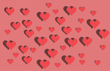 Red hearts background. Valentines Day EPS vector background