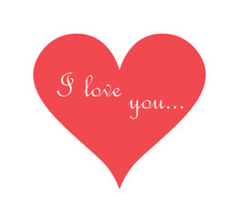Love heart on Valentines Day with text I love you. EPS vector background