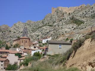 Castellote, pueblo de Teruel situado en la comarca turolense del Maestrazgo, en España. Foto aerea con Drone en Castillo