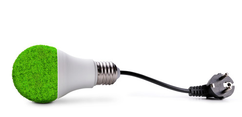 Eco LED bulb with electric plug isolated on white background.Saving lamp. Green energy theme.