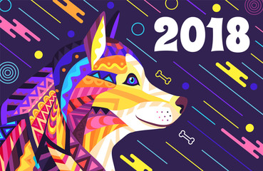 2018 New Year Poster Stylish Vector Illustration
