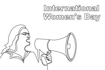 International Women Day card. Women protest concept.