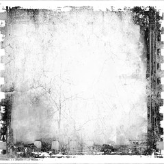 Grunge film strip frame with cracked wall. Black and white tones.