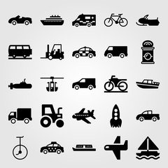 Transport vector icon set. forklift, boat, sport car and police car