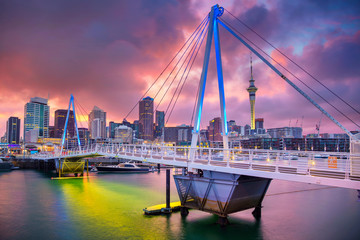 Aluminium Prints Oceania Auckland. Cityscape image of Auckland skyline, New Zealand during sunrise.