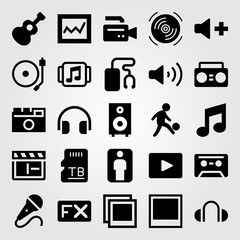 Multimedia vector icon set. music player, speaker, memory and fx