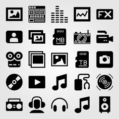 Multimedia vector icon set. sd card, boombox, speaker and picture